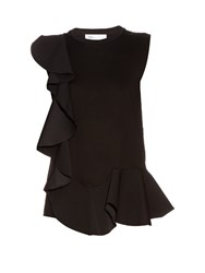 Toga Side Ruffle Cotton Jersey Tank Top Black