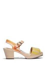 Anntian Wooden Heeled Clog Sandals Yellow