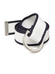 Vilebrequin D Hook Canvas Belt White Navy