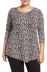 Vince Camuto Plus Size Women's Animal Print Side Pleat Top