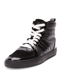 Hervey High Top Sneaker With Patent Leather Black Bally Red