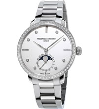 Frederique Constant Fc 703Sd3sd6b Manufacture Slimline Moonphase Stainless Steel Watch White