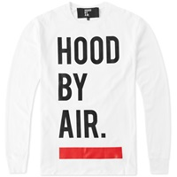 Hood By Air Long Sleeve Ultra Classic Logo Tee White And Red