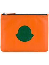 Moncler Logo Patch Clutch Bag Yellow And Orange