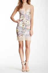 Gracia Lace Trim Floral Mini Dress Gray