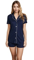 Bop Basics X Cosabella Shortie Pj Set Navy Moon Ivory