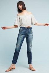 Anthropologie Amo Babe High Rise Straight Cropped Jeans Denim Light