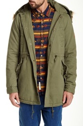 Native Youth Fleece Lined Washed Parka Green