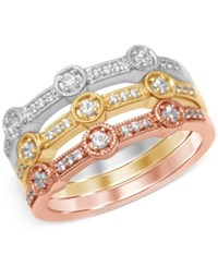 Macy's Diamond Set Of Three Tri Color Milgrain Stackable Bands 3 8 Ct. T.W. In 14K White Yellow And Rose Gold