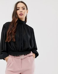 Girl In Mind Gathered Sleeve High Neck Blouse Black