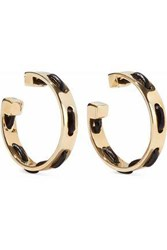 Arme De L'amour Gold Tone Leather Trimmed Hoop Earrings Gold
