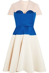 Delpozo Cape Effect Color Block Neoprene Dress Royal Blue