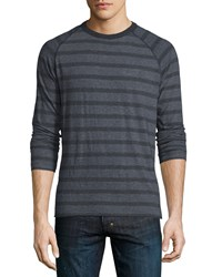 Billy Reid Indian Striped Crewneck Sweater Navy Men's