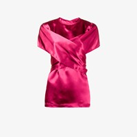 Sies Marjan Wrap Front Short Sleeve Blouse Pink And Purple