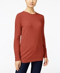 Jm Collection Crew Neck Button Cuff Sweater Only At Macy's Rusty Red
