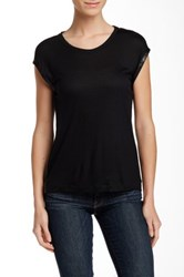 Fate Faux Leather Trim Cap Sleeve Tee Black