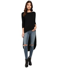 Culture Phit Quintia High Low Batwing Sleeve Top Black Women's Clothing