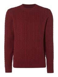 Criminal Men's Ash Cable Crew Neck Jumper Claret