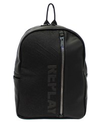 Replay Denim Backpack With Logo Black