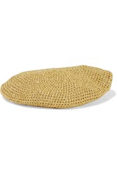Gucci Thelma Metallic Crochet Knit Beret Gold