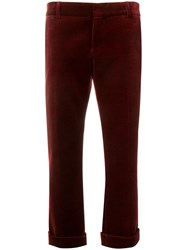 Saint Laurent Velour Cropped Trousers Red