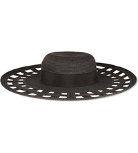 Reiss Lucien Cut Out Floppy Hat Black