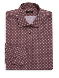 Sand Cotton Printed Dress Shirt Red