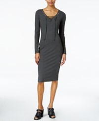 Bar Iii Lace Up Bodycon Sheath Dress Only At Macy's Heather Grey