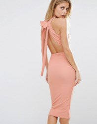 Oh My Love Bow Back Midi Dress Dusky Rose Pink