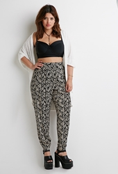 Forever 21 Abstract Chevron Print Pants Black Taupe