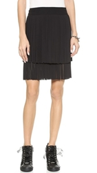 Dkny Miniskirt With Fringe Black