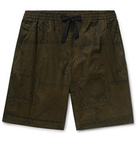 Officine Generale Printed Cotton Twill Drawstring Shorts Green