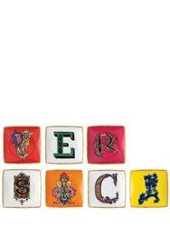 Versace Set Of 7 Square Flat Valet Trays Multicolor