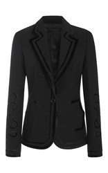 Elie Saab Fitted Jacket With Velvet Motifs Black