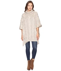 Christin Michaels Maia Cable Knit Turtleneck Poncho Beige Women's Coat