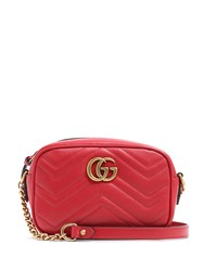 Gucci Gg Marmont Mini Quilted Leather Cross Body Bag Red