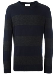 Ymc Striped Crew Neck Sweater Blue