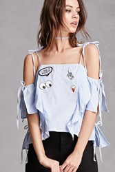 Forever 21 Striped Open Shoulder Patch Top Blue
