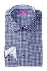 Lorenzo Uomo Long Sleeve Trim Fit Mini Check Dress Shirt Blue
