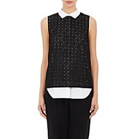 R R Studio Women's Embroidered Eyelet Layered Top Black White Blue Black White Blue