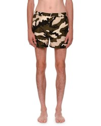 Valentino Camouflage Short Swim Trunks Green Black White Green Pattern
