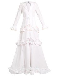 Rosie Assoulin Twisted Ruffle Cotton Gown White Multi