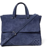 Tod's Gommino Suede Holdall Storm Blue