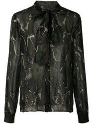 Saint Laurent Camouflage Print Blouse Green