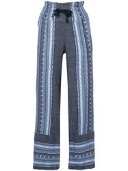 Lemlem Embroidered Details Straight Trousers Blue
