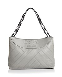Tory Burch Chevron Quilt Slouchy Leather Tote Concrete Silver