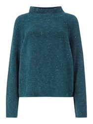 Eileen Fisher Funnel Neck Box Top Blue Spruce