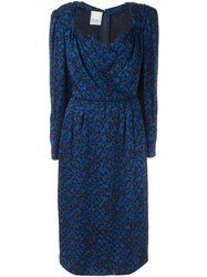 Nina Ricci Vintage Leopard Print Dress Blue