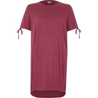 River Island Pink Washed Tie Sleeve Oversized T Shirt