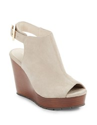 Kenneth Cole Olcott Suede Peep Toe Wedge Booties Taupe